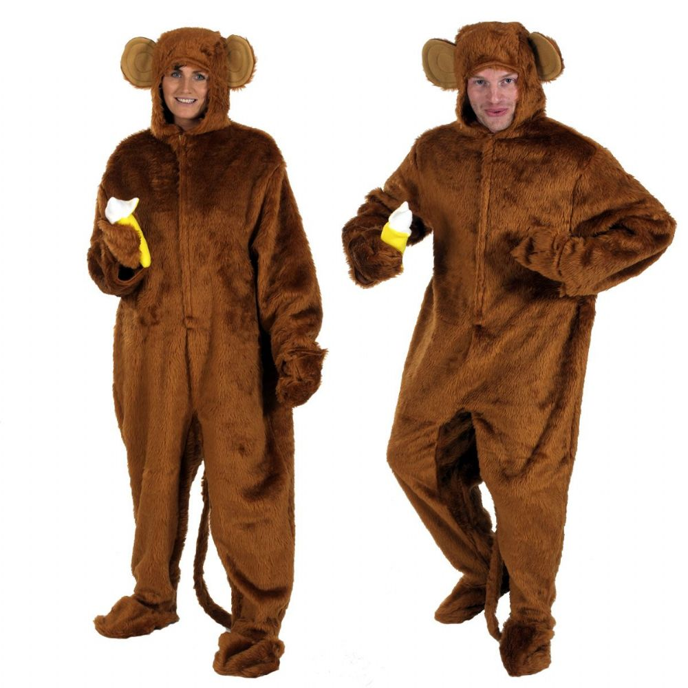 Adults Mens and Ladies Brown Fur Cheeky Monkey with Banana